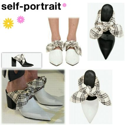 Other Check Patterns Plain Leather Sandals