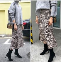 TOM&RABBIT Flared Skirts Leopard Patterns Casual Style Long Maxi Skirts