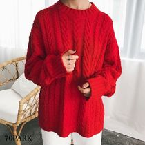Crew Neck Cable Knit Casual Style Street Style Long Sleeves