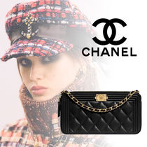 CHANEL BOY CHANEL Lambskin Blended Fabrics Street Style 3WAY Bi-color Chain