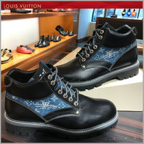 Louis Vuitton Monogram Plain Toe Mountain Boots Plain Leather