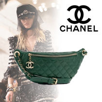 CHANEL Calfskin Blended Fabrics 2WAY Bi-color Plain With Jewels