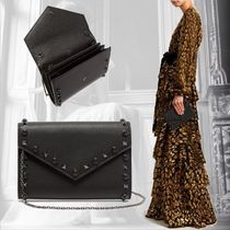 VALENTINO Studded 2WAY Chain Leather With Jewels Elegant Style