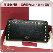 VALENTINO Unisex Calfskin Studded Plain Long Wallets