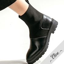 Round Toe Casual Style Faux Fur Plain Flat Boots