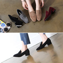 Suede Plain Block Heels Loafer Pumps & Mules