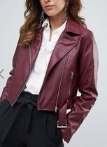 ASOS Plain Leather Medium Biker Jackets