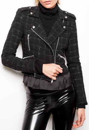 Short Other Check Patterns Casual Style Biker Jackets