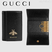 GUCCI Plain Other Animal Patterns Leather Keychains & Holders