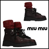 MiuMiu Mountain Boots Round Toe Rubber Sole Casual Style Plain