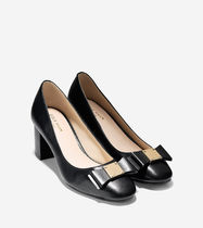Cole Haan Plain Leather Chunky Heels Pumps & Mules