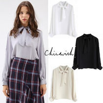 Chicwish Chiffon Long Sleeves Plain With Jewels Elegant Style