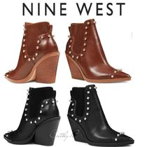 Nine West Cowboy Boots Casual Style Blended Fabrics Studded Plain