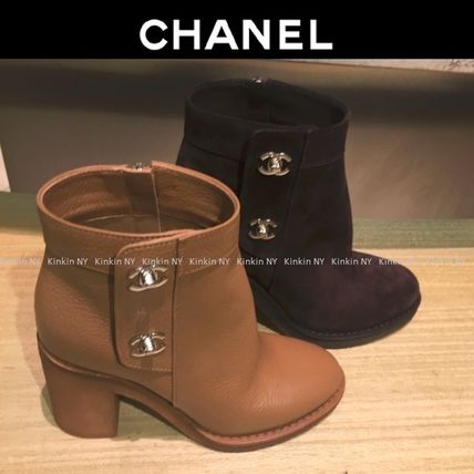 CHANEL Ankle & Booties Round Toe Plain Leather Block Heels Elegant Style 2