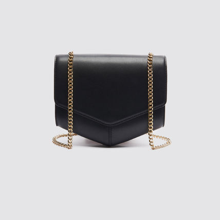 2WAY Chain Plain Leather Party Style Shoulder Bags