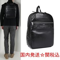 Saint Laurent Unisex Lambskin Street Style A4 Plain Backpacks
