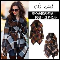 Chicwish Other Check Patterns Wool Medium Coats