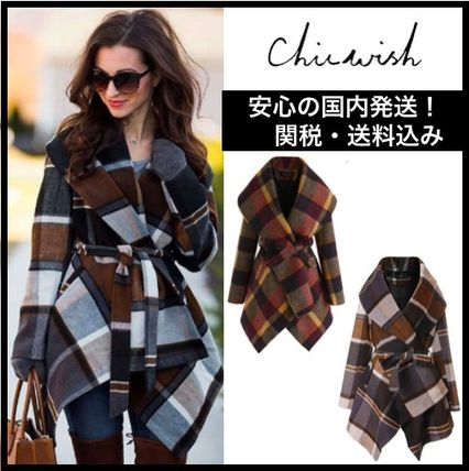 Chicwish More Coats Other Check Patterns Wool Medium Coats