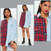 Missguided Tartan Casual Style Unisex Blended Fabrics Long Sleeves