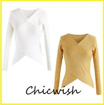 Chicwish Casual Style Rib V-Neck Long Sleeves Plain Medium