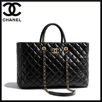 CHANEL MATELASSE Calfskin A4 2WAY Chain Plain Elegant Style Totes