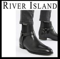 River Island Straight Tip Street Style Plain Leather Chelsea Boots