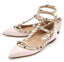VALENTINO Platform Plain Leather Elegant Style Lace-Up Shoes