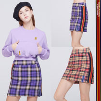 ROMANTIC CROWN Other Check Patterns Casual Style Street Style Cotton Skirts