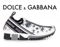 Dolce & Gabbana Rubber Sole Casual Style Blended Fabrics With Jewels