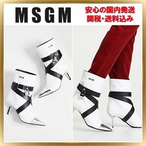 MSGM Plain Leather Pin Heels Elegant Style Ankle & Booties Boots