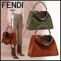 FENDI Plain Elegant Style Handbags