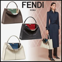 FENDI Plain Leather Elegant Style Handbags