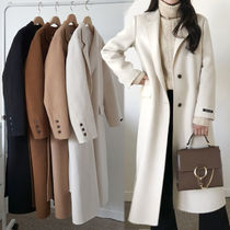 Wool Street Style Plain Long Elegant Style Chester Coats