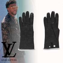 Louis Vuitton Plain Leather Leather & Faux Leather Gloves