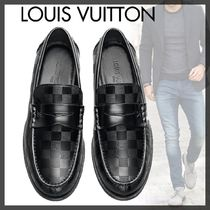 Louis Vuitton DAMIER Other Check Patterns Plain Toe Loafers Leather