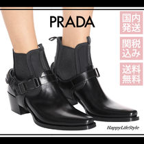 PRADA Rubber Sole Casual Style Blended Fabrics Plain Leather
