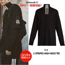 Y-3 Stripes Street Style Long Sleeves Plain Cotton Oversized