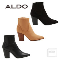 ALDO Round Toe Casual Style Faux Fur Plain Oversized Chunky Heels