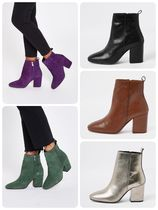 River Island Round Toe Plain Leather Block Heels Ankle & Booties Boots