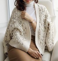 Cable Knit Medium With Jewels Elegant Style Puff Sleeves