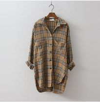 GENIE Other Check Patterns Casual Style Wool Long Sleeves Medium