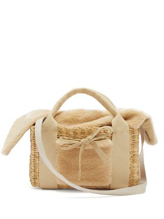 Blended Fabrics Street Style 2WAY Plain Straw Bags
