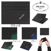 PRADA SAFFIANO LUX Plain Other Animal Patterns Leather Card Holders