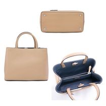 FENDI 2 JOURS Calfskin 2WAY Plain Handbags
