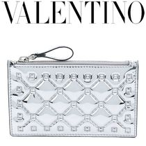 VALENTINO Studded Plain Leather Coin Cases