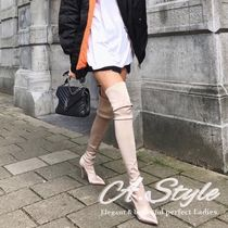 Casual Style Plain Pin Heels Over-the-Knee Boots