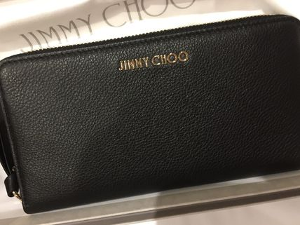Jimmy Choo Unisex Calfskin Plain Leather Logo Long Wallets
