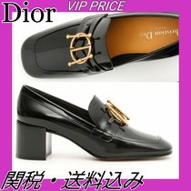 Christian Dior Moccasin Leather Block Heels Block Heel Pumps & Mules