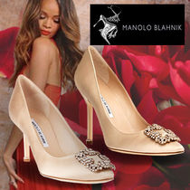 Manolo Blahnik Hangisi Blended Fabrics Plain Party Style With Jewels