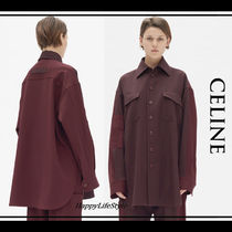 CELINE Wool Blended Fabrics Long Sleeves Plain Medium Oversized